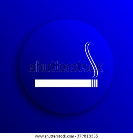 Cigarette icon. Internet button on blue background.