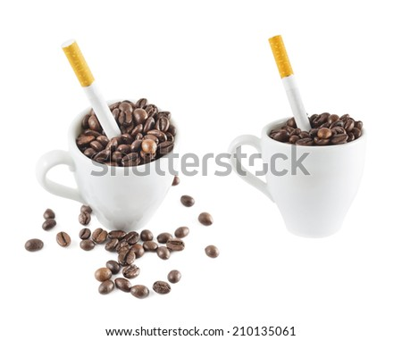 Cigarette in a cup full of coffee beans isolated over white background, set of two foreshortenings - stock photo