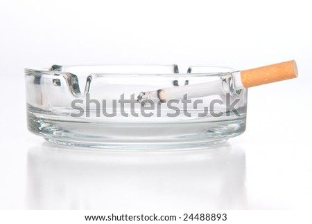 cigarette in ashtray - stock photo