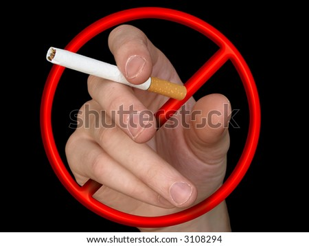 """cigarette in hand (sign  - """"Stop"""") - stock photo"""