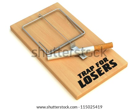 Cigarette in mousetrap isolated on white. Trap for losers 3D Ren - stock photo