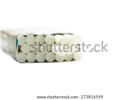 Cigarette in the packet isolated on white background.
