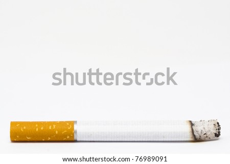 Cigarette isolated over white background. Last cigarette of my life concept - stock photo