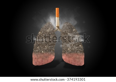 Cigarette, lungs full of ash, concept - stock photo