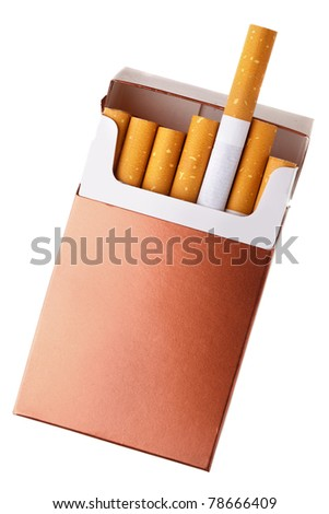 Cigarette pack isolated over the white background - stock photo