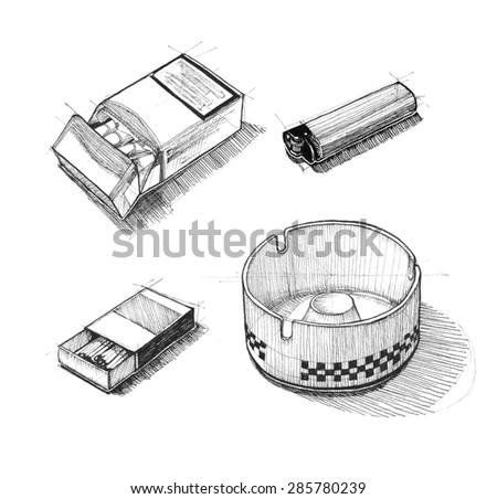 Cigarette sketch set. Illustration for your design - stock photo