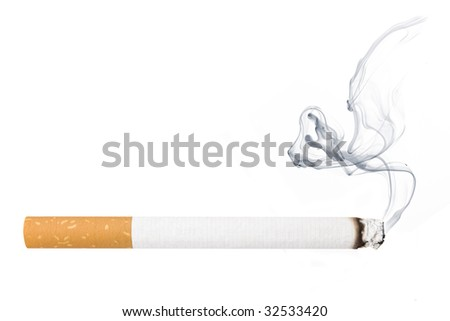 Cigarette smoking isolated on white - stock photo
