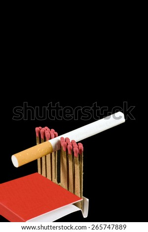 Cigarette Stuck Between Matches On Black Background/Time Bomb Concept  - stock photo