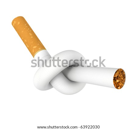 Cigarette tied to a knot. Computer generated image. - stock photo