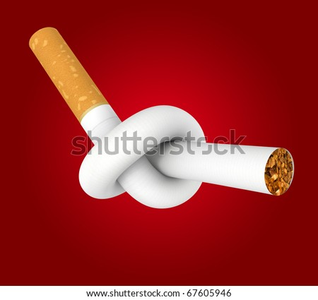 Cigarette tied to a knot. Computer generated image. Clipping path included. - stock photo