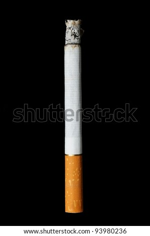 cigarette with ashes isolated on black background - stock photo