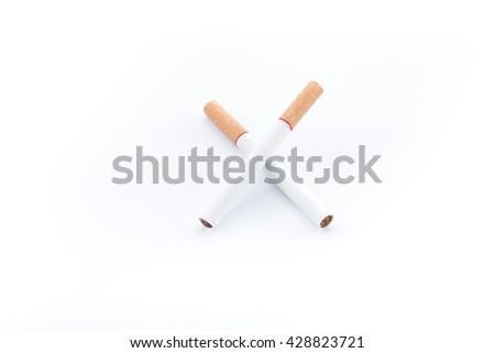 Cigarette with brown filter on white background - stock photo