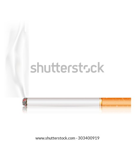 Cigarette with smoke - stock photo