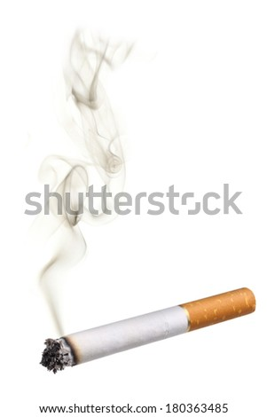 Cigarette with smoke, cutout on white background - stock photo