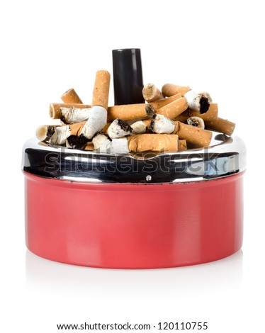 Cigarettes and old metal ashtray isolated on white background - stock photo