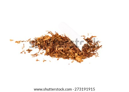 Cigarettes and tobacco isolated on white background - stock photo