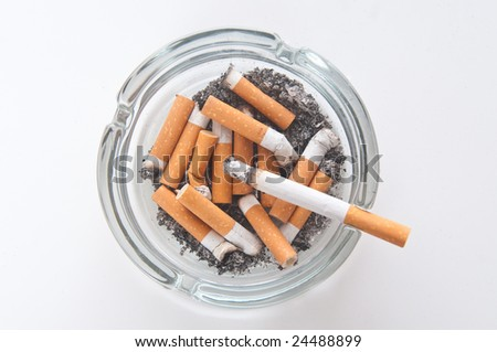 cigarettes butts  in ashtray - stock photo