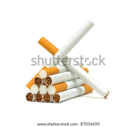 Cigarettes closeup on white background. No smoking.