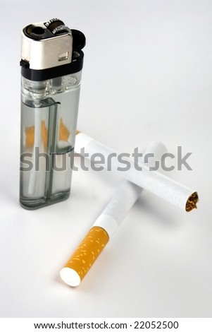 Cigarettes closeup with lighter