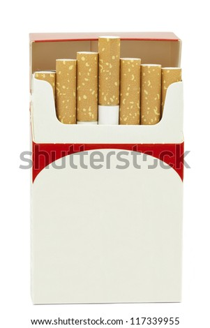 Cigarettes in opened cardboard box on a white background - stock photo