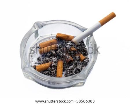 Cigarettes in white background - stock photo