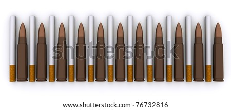 Cigarettes kill the same bullets. The composition of bullets from machine and cigarettes - stock photo