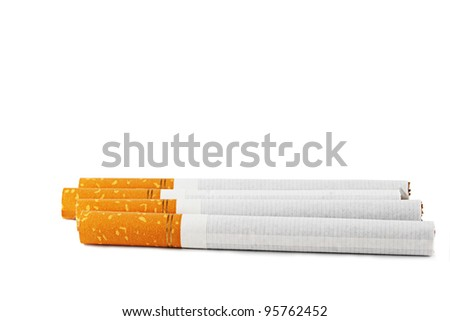 Cigarettes on a white background.