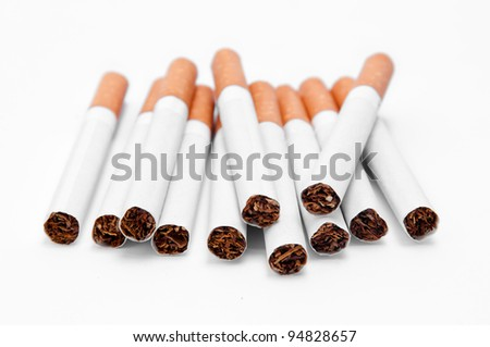 cigarettes on white background