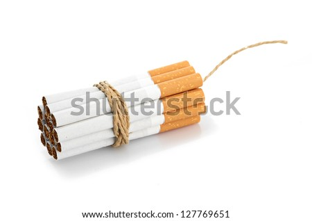 Cigarettes tied with rope and wick isolated on white - stock photo