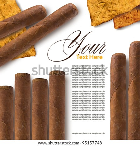 Cigars in a row close-up, may be used as background - stock photo