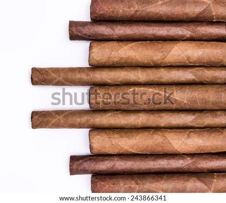 Cigars in a row with space for text. Close-up background - stock photo