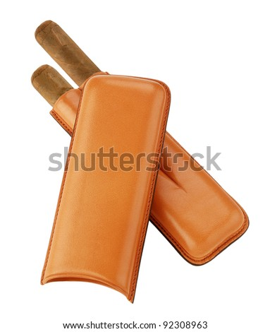 cigars in leather case isolated on white background - stock photo