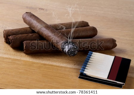 cigars with matches - stock photo
