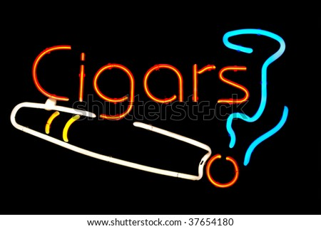 Cigars with smoke neon sign isolated on black background - stock photo