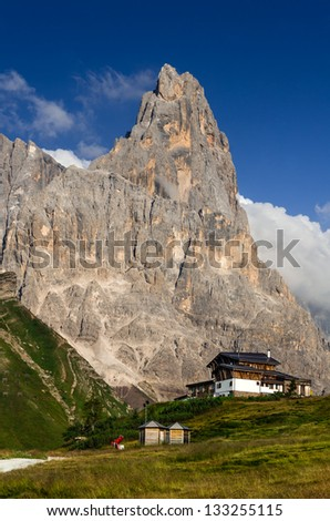 Cimon della Pala or Cimone (The Matterhorn of Dolomites) is the best-known peak of the Pale di San Martino group, northern Italy. - stock photo