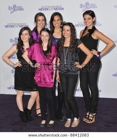 "Cimorelli at the Los Angeles premiere of ""Justin Bieber: Never Say Never"" at the Nokia Theatre LA Live. February 8, 2011  Los Angeles, CA Picture: Paul Smith / Featureflash - stock photo"