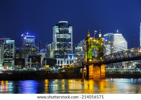 Cincinnati downtown overview in the night - stock photo