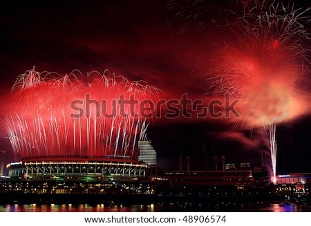 Cincinnati Riverfront Stadium, last game night during the softball game.  Historic photo only time fireworks shot off of the building. One night only before being replaced.