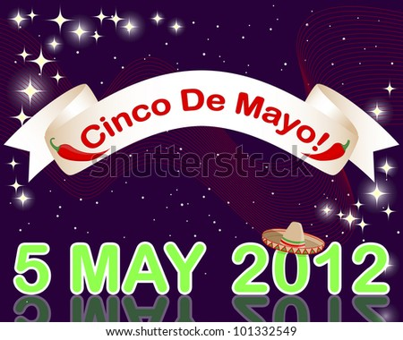 Cinco de Mayo background with a banner against the sparkling lights.  Raster version.