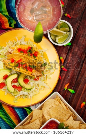 Cinco De Mayo Background with Margarita And Fiesta Food - stock photo