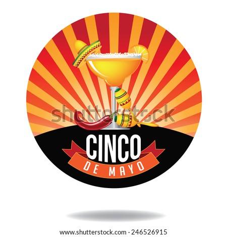 Cinco De Mayo burst Icon royalty free stock illustration perfect for ads, menu design, coaster design, poster, flier, signage, party invitation - stock photo
