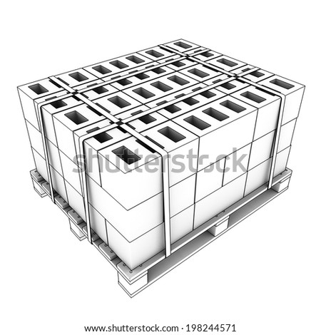cinder block. isolated white background. 3d.