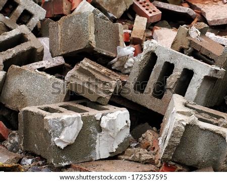 Cinder blocks and bricks in work site - stock photo