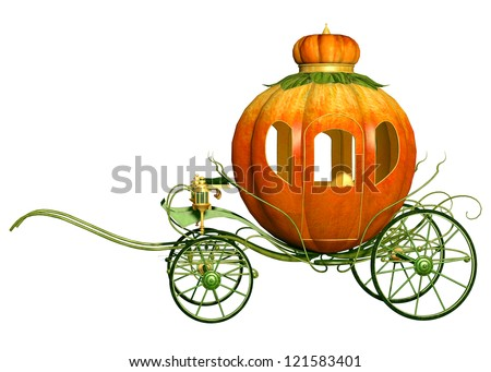 Cinderella fairy tale pumpkin carriage, isolated - stock photo