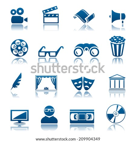 Cinema and theatre icon set - stock photo