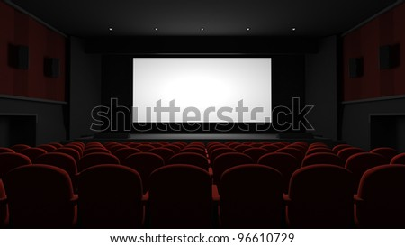 Cinema auditorium with blank screen - stock photo