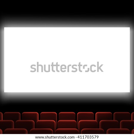 Cinema auditorium with red chairs and white screen. Stock illustration.