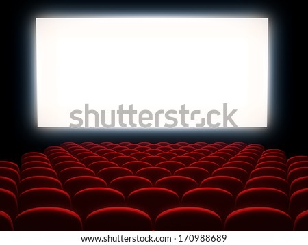 Cinema auditorium with white screen - stock photo