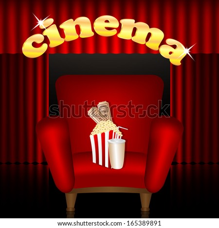 cinema background.cinema hall.red chair with a drink and popcorn on a background of portieres.raster - stock photo