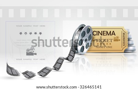 Cinema background with ticket and cinema films. - stock photo